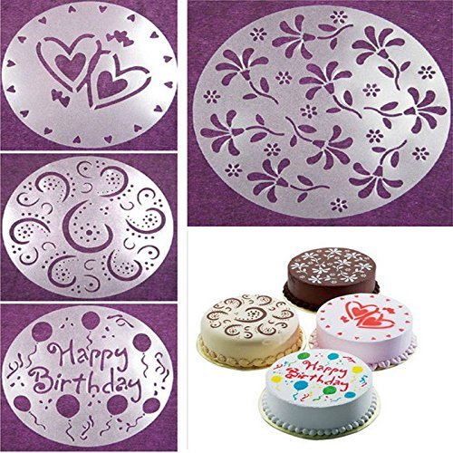 Affe 4PCS/set Fondant Cake Stencil Carved Printing Patterns Mold Happy Birthday Cake Mold Spray (Cake Stencil Set)