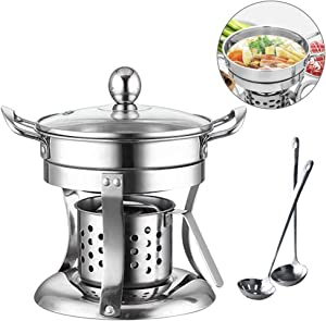 Stainelss Steel Hot Pot, Shabu Pot, Noodles Cooker Thick Safe Mini Pot for Camping, Party, Dorm Room