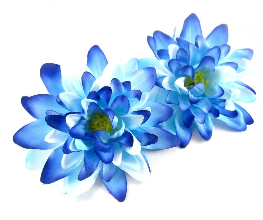 Amazon 2 Sea Blue Silk Dahlia Flower Heads 4 Artificial