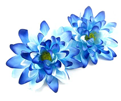 Amazon 2 Sea Blue Silk Dahlia Flower Heads 4 Artificial