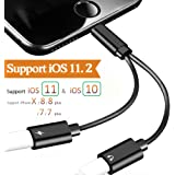 Lightning Adapter,Lightning to Headphone for iPhone 7/7 Plus iPhone 8/8Plus iPhone X.2 in 1 Adapter with Call & Audio & Charge Function Lightning Splitter.Compatible iOS 10.33/11.2or Later (Black)