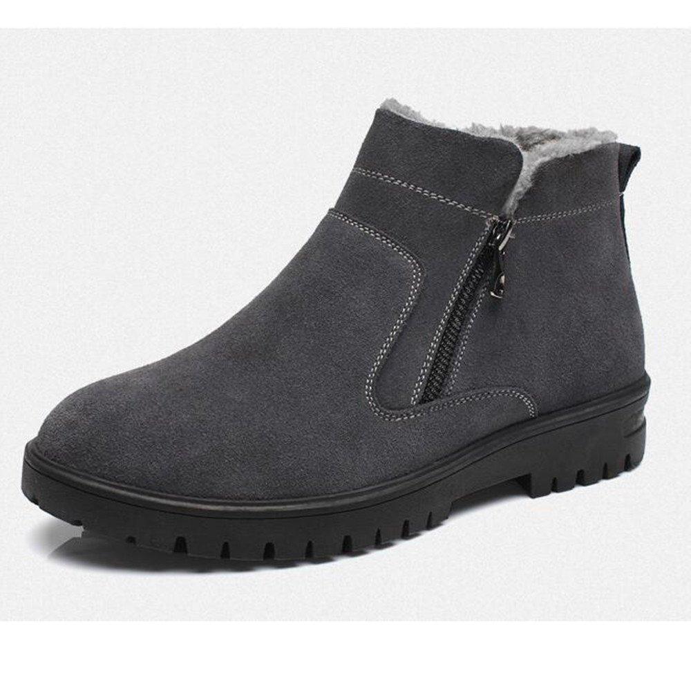 Winter snow boots shoes plus velvet warm waterproof cotton boots Martin boots,40 grey