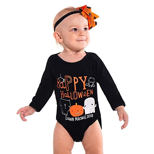 e0b3909bc7a2 Amazon.com: Toddler Baby Girls Boys Clothes Sets for 0-18 Months,Onesies  Long Sleeve Halloween Letter Pumpkin Printed Romper Tops Outfit: Clothing