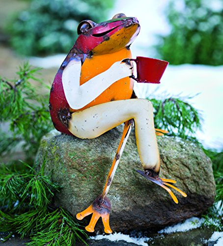 Plow & Hearth Recycled Metal Coffee Frog Sculpture Yard and Garden Art 11.5 L x 9 W x 15 ()