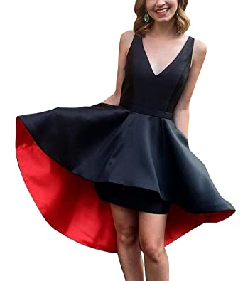 Homecoming Dress Satin V-Neck Short A-Line Prom Gown with Pocket Simple Prom
