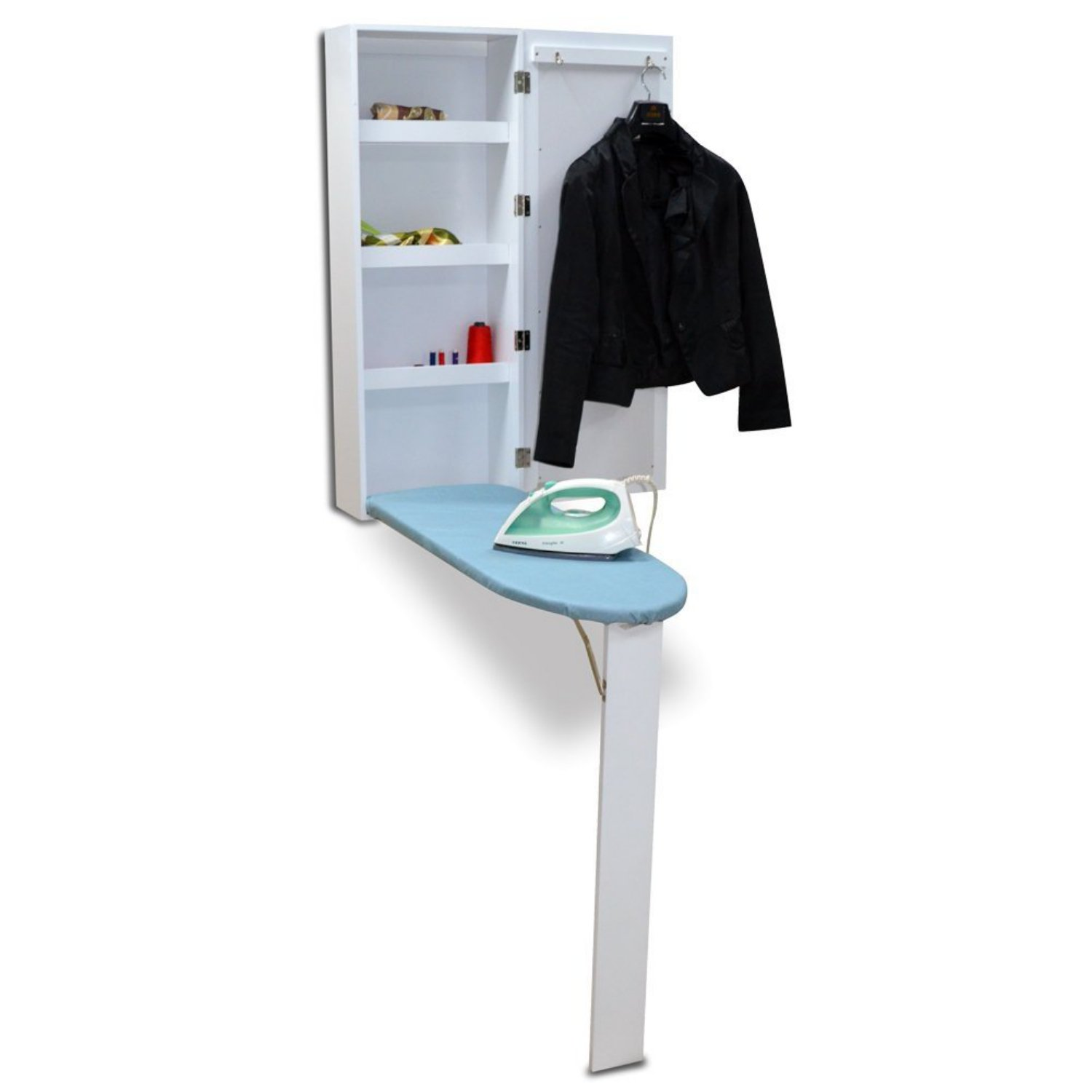 Wall Mount Ironing Cabinet,Wishwin Multi-functional Storage Shelves Board Center with Mirror & Suit Hook White