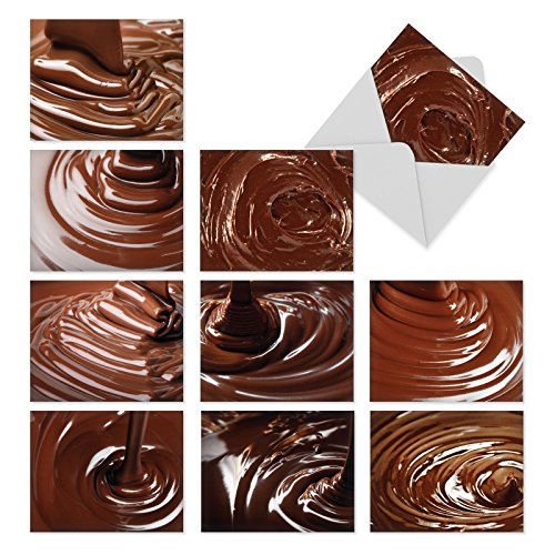 ue: 10 Assorted Blank All-Occasion Note Cards Serve Up a Luscious, Mouth-Watering Chocolate Dessert Treat, w/White Envelopes. (Chocolate Fondue Cocoa)