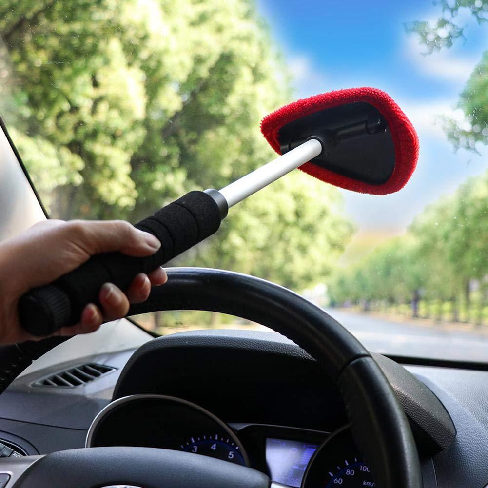 Ai CAR FUN Nettoyage Pare Brise Bras Microfibre avec Manche Extensible Raclette 180° pour Enlever la Buée Intérieure, Lavage Fenêtre Vitre Voiture Auto Maison Lavage Fenêtre Vitre Voiture Auto Maison