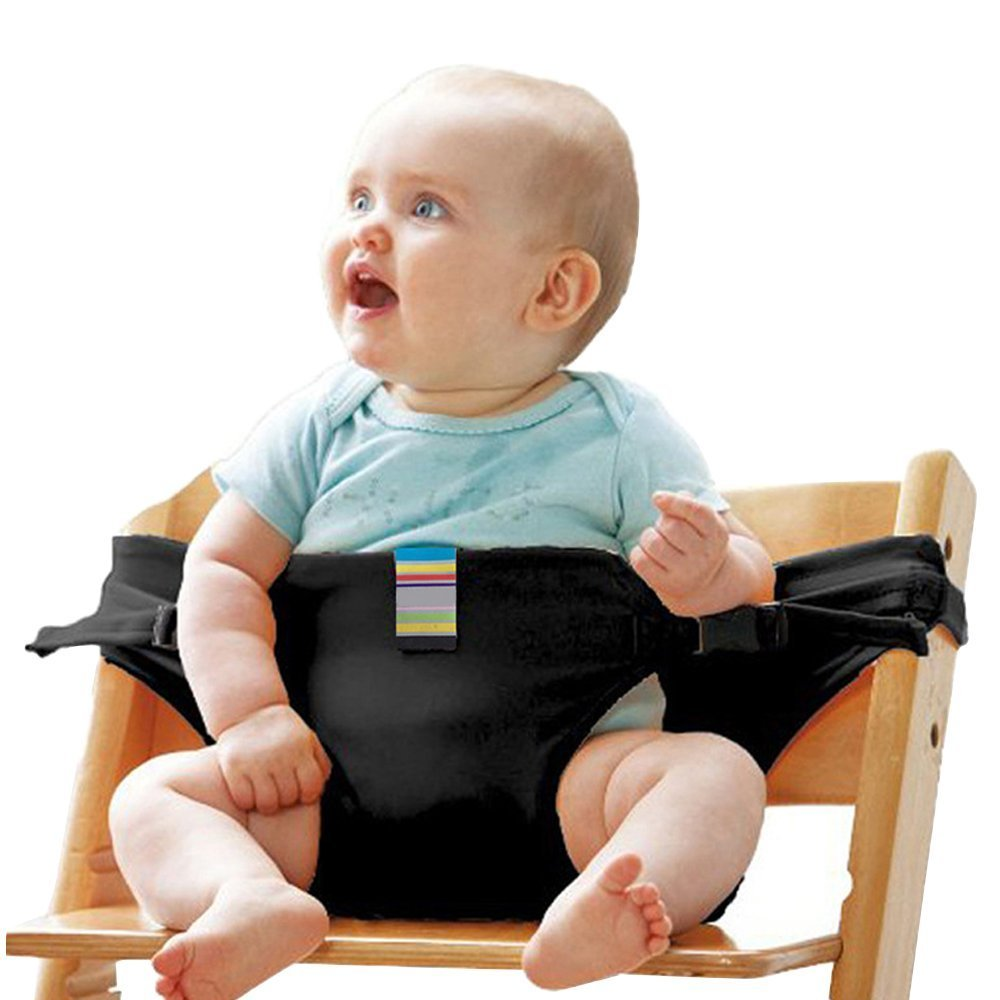 Portable Washable Baby Travel High Chair Booster Safety Seat Strap Harness Belt for Baby Kid Toddler (Black) SHENYUN