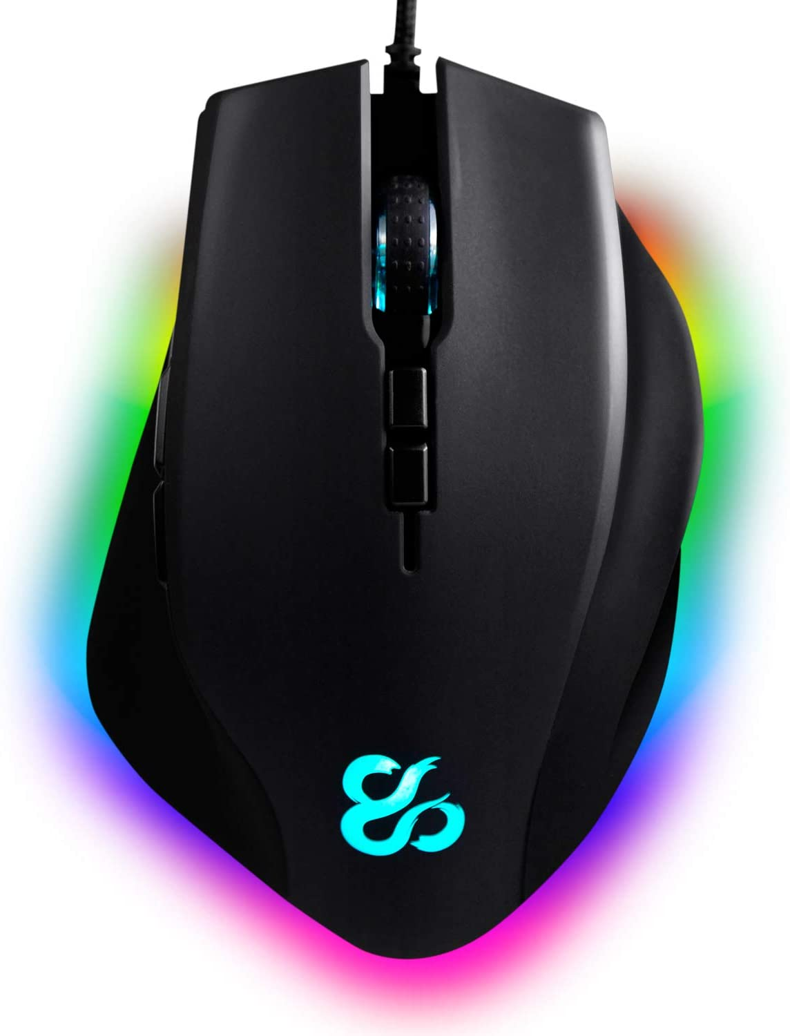Newskill Ratón Gaming habrok con Sensor óptico (16000 dpi), botón Lateral para Sniper e iluminación RGB.