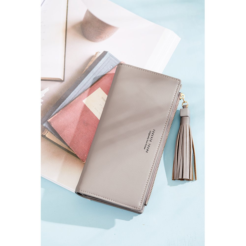 Wallets for Women Fashion Soft Leather Billfold Long Clutch Ladies Credit Card Holder Organizer Purse gray by Romere (Image #2)