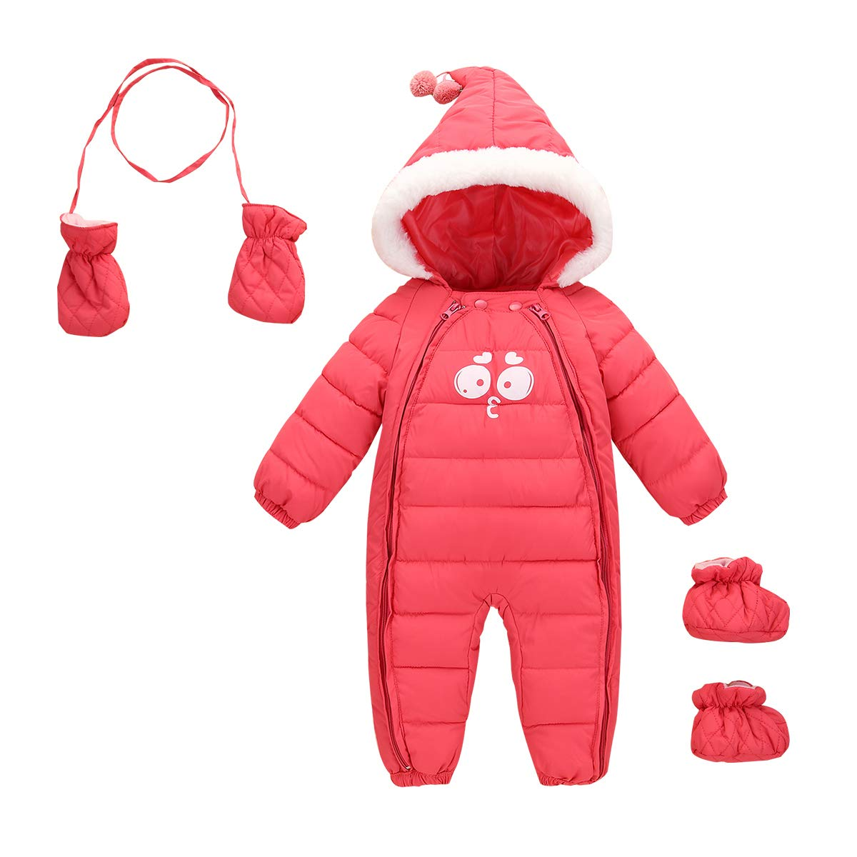Aivtalk Baby Winter Bodysuit Snowsuit Girls Toddler Warm Zipped Hooded Puffer One Piece With Glove and Socks 24-30 Months Pink by Aivtalk