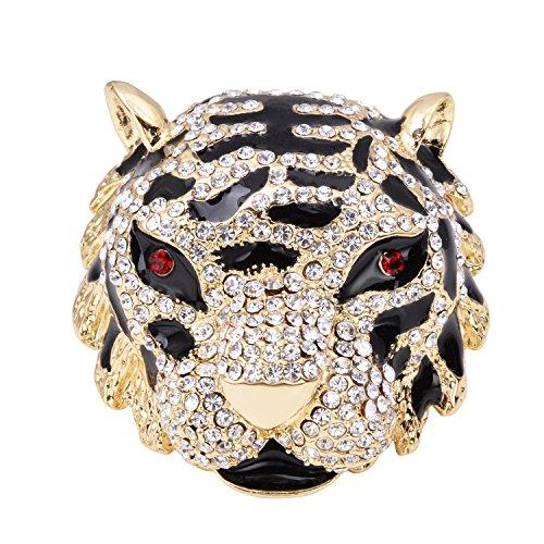 OBONNIE Vintage 18K Gold Plated Crystal Black Enamel Large 3D Tiger Head Brooch Pin Gift Box (Gold) (Brooch Vintage 18k)