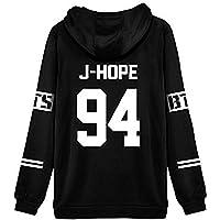 ShallGood Femme Automne Mode BTS Fans Sweats à Capuche à Manches Longues Varsity Rayé Encapuchonné Sweatshirt Décontractée Hooded Chemisiers Tops