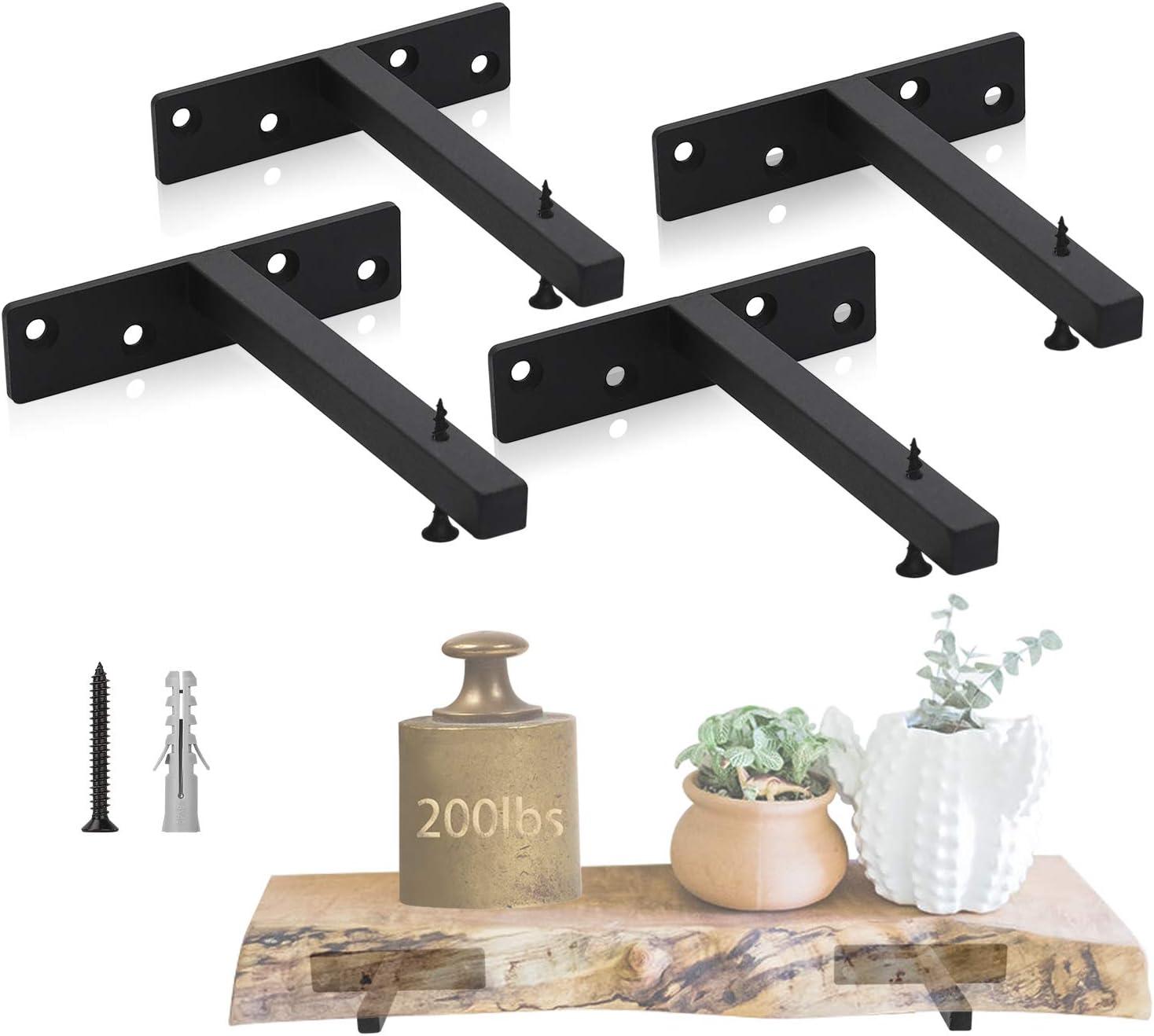 Floating Brackets for Shelves Heavy Duty 6 Inch Black Steel Hardware Shelf Supports Blind Bracket for Wood Shelving, 4 Pack