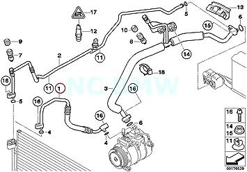 BMW Genuine Pressure Hose Assy Compressor-Condenser