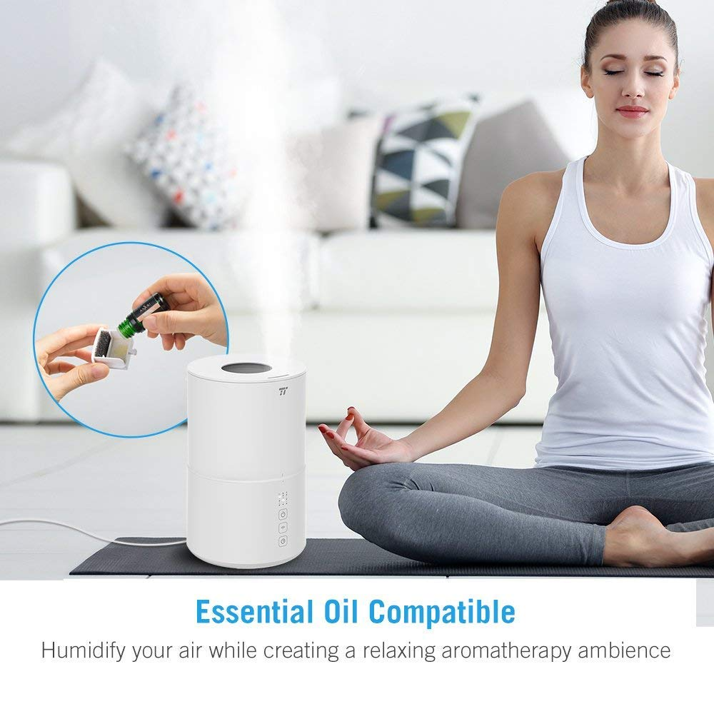 TaoTronics Top Fill Ultrasonic Humidifier, Cool Mist Humidifier & Oil Diffuser Humidifier for Bedroom Baby SPA Yoga with 20H Working Time, No Filter, Waterless Auto Shut Off -(2L/0.53 Gallon, US 110V) by TaoTronics (Image #4)