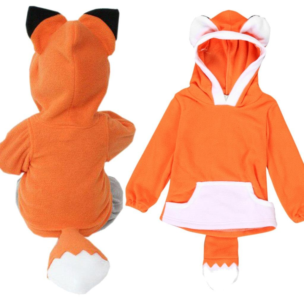 Kingko® Baby Cartoon Fox Hoodie Winter Thick Coat Jacket Newborn Infant Toddler Keep Warm Cotton Blend Outwear for 6-36 Months