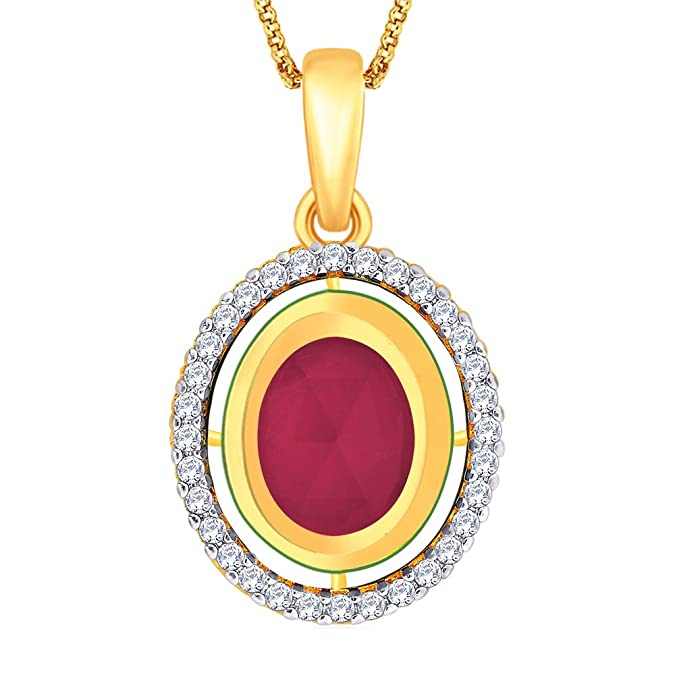 Peora Gold-Plated Pendant With Chain For Women Red-PTFP8 Women's Pendants at amazon