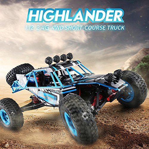 MOSTOP JJRC Desert Truck Q39 2.4GHz 1:12 4WD RTR Desert Off-road Vehicle Short-course Truck RC Car RC Automobile Toys High Speed RC Buggy Car (Blue-Black)