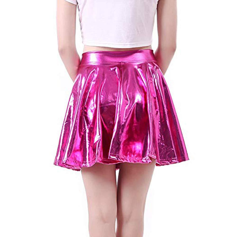 26aa43d19 Mujer Gusspower Mini Falda Plisada Corta de Cintura Alta Falda de PU ...