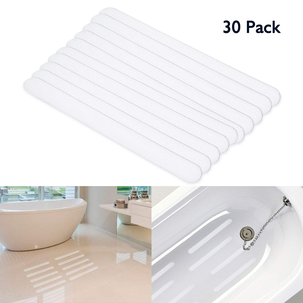 SAFETYON Bathtub Stickers Non-slip Strips (30 Pcs) Anti Skid Tape for Shower, Tub, Steps, Floor Extra Strength Adhesive Grip Safety Treads for Baby, Senior, Adult (Clear) SAFETYONMechi1017
