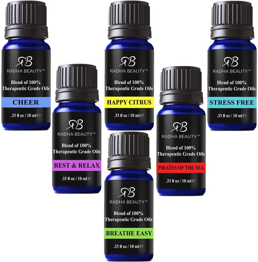 Radha Essential Oil Blends Set - 100% Pure and Natural Kit for Aromatherapy Sea of Thieves, Stress Free, Rest & Relax, Breathe Easy, Cheer, Happy Citrus, Great Gift - 6/10 ml