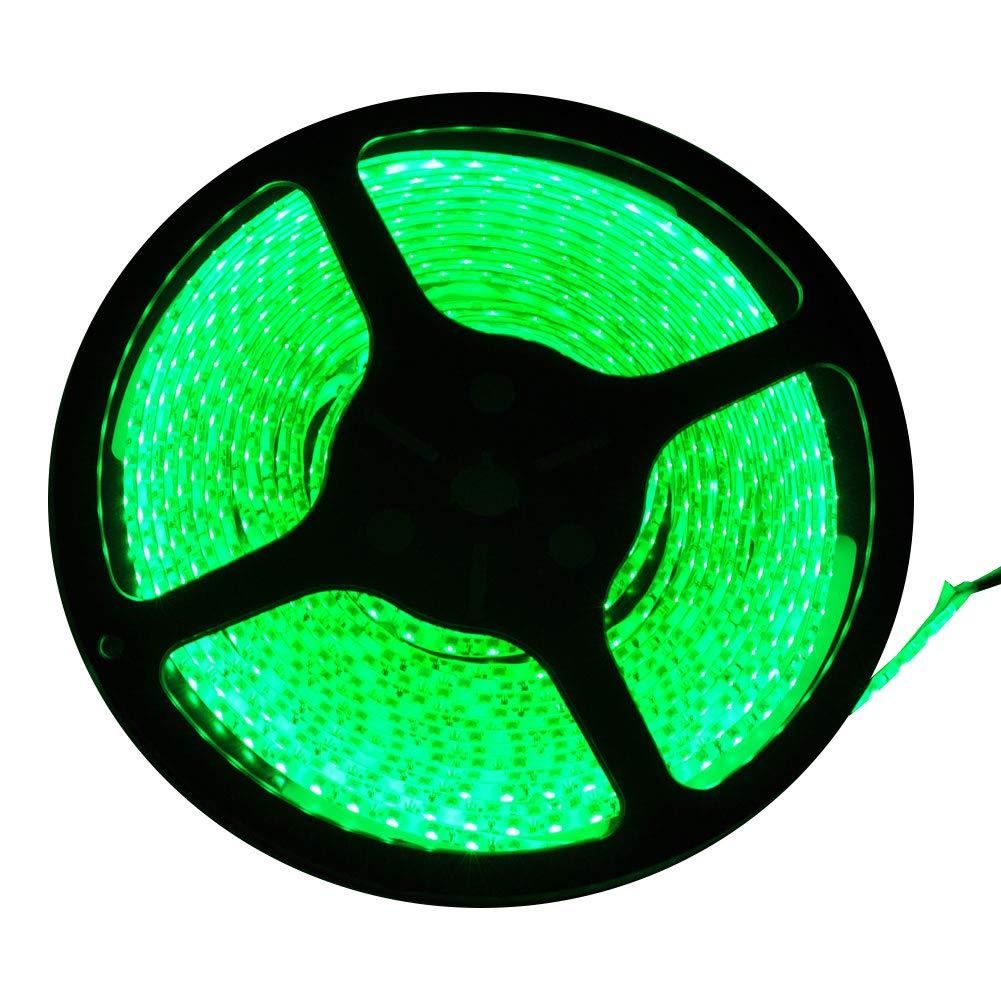 FAVOLCANO LED Strip Light Green IP65 Waterproof 12V DC SMD 3528 600 LEDs 120Leds/M 16.4 ft/5M Flexible LED Tape for Thanksgiving Christmas Decor Home Car Bar Club Indoor Outdoor Decoration
