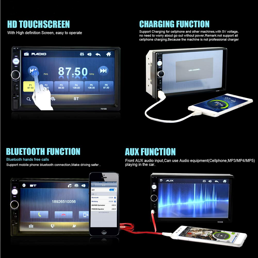 Car Stereo 2 din car Radio 7 HD Player MP5 Touch Screen Digital Display Bluetooth Multimedia USB 2 Din Double Din Autoradio Mobile Phone Interconnection with 12 LED Car Backup Camera