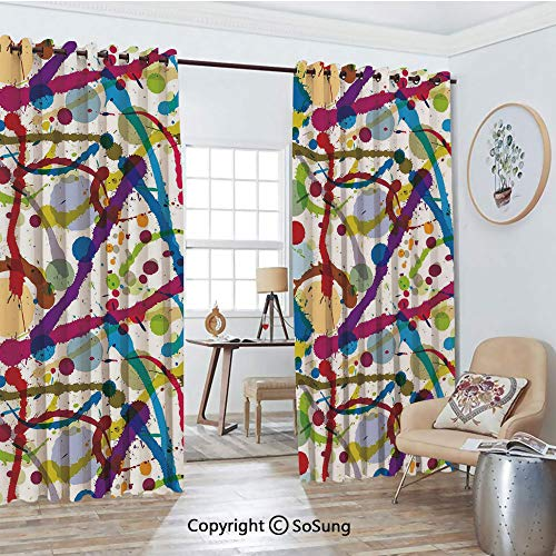 - Extra Long and Wide Blackout Curtains,Artistic Colorful Ink Splatters Creative Inspiration Stained Dirty Messy Display Decorative Thermal Insulated Premium Room Divider Large Size 2 Panel Set,108