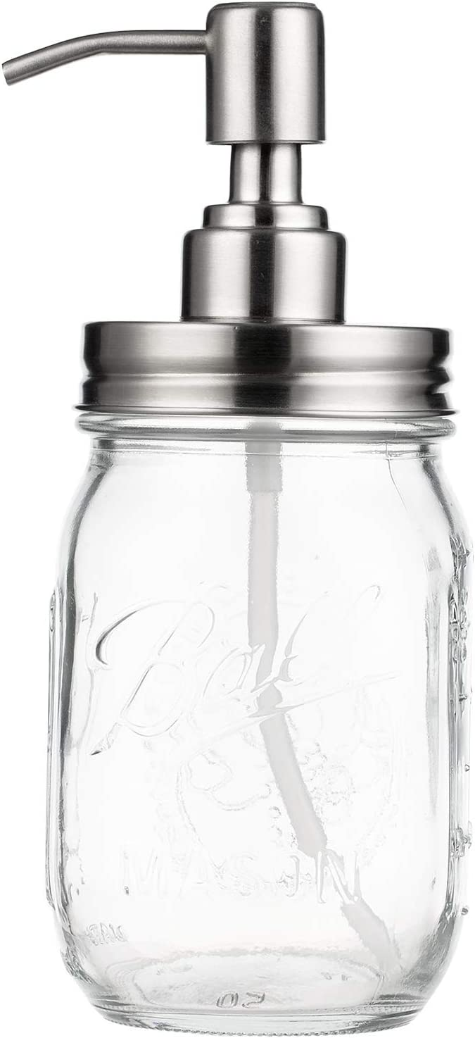 Mason Jar Soap Dispenser Mecuricy 16oz Clear Glass Jar Soap Dispenser with Stainless Steel Pump Liquid Soap Dispenser for Kitchen, Bathroom Decor Great for Lotions, Liquid Soaps
