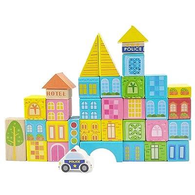 Quskto Juguete Educativo Clásico Bloques de construcción de Madera de 100 Piezas Juguetes de construcción para niños y niños Mayores de más de 3 años de Regalo para niños: Hogar