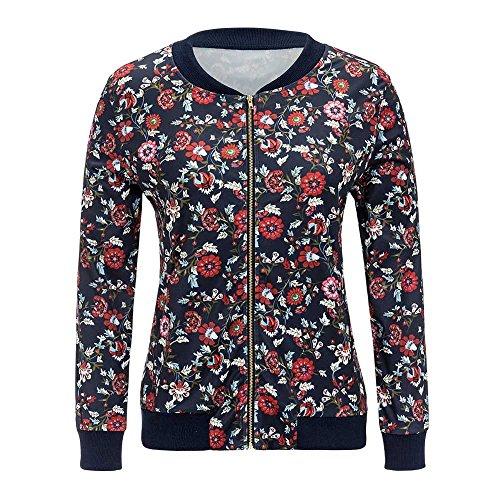 TOPUNDER Women Casual Print Zipper Vintage Blazer Jacket Coat Outwear Blouse (L, Navy) from TOPUNDER Coat