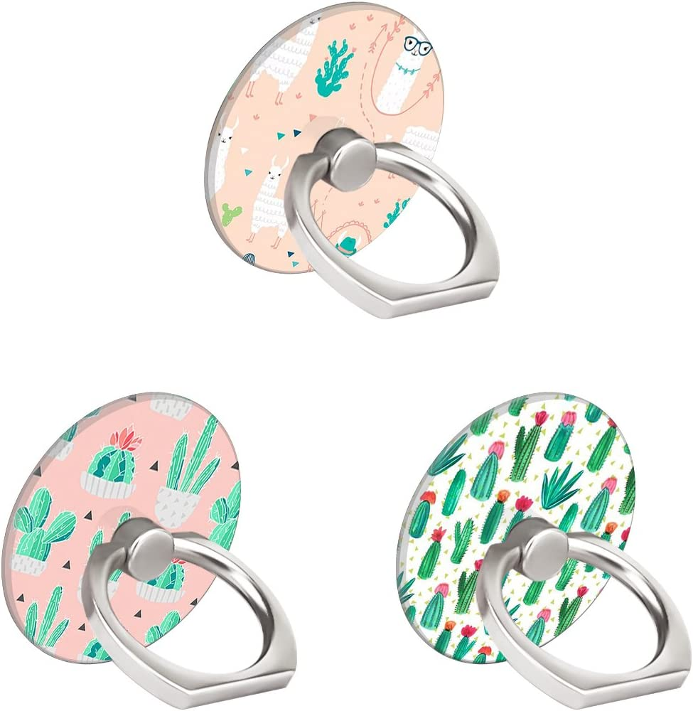 DABUW Three Pack Phone Ring Holder 360 Degree Rotating Stand Grip Kickstand for Cellphones,Smartphones and Tablets-Cactus