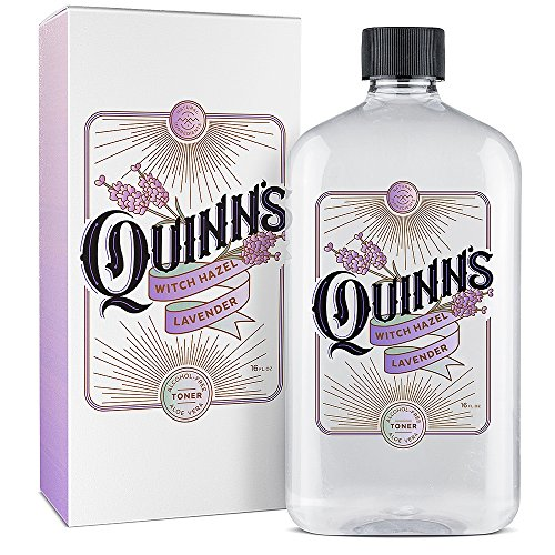 Quinn's Alcohol Free Witch Hazel 16 ounce. Unscented Aloe Vera Natural Toner for Face and Skin (Lavender)