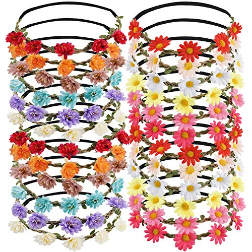 24PCS Multicolor Flower Crown Headband, Daisy Headpiece Bridal Hair Wreath Garland Festivals Floral Hair Band with Elastic Ribbon for Women Girl Wedding Spring Party Vacation Photography Props