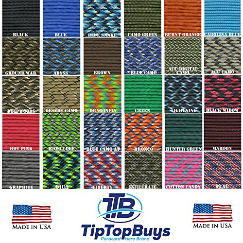 550 Paracord / Parachute Cord Type III 7 Strand 5/32 (4mm) Diameter, 550LB Breaking Strength 550Cord Survival Cordage W/ Spool Cord Winder & Buckle Options Available Choose Under Size See Description