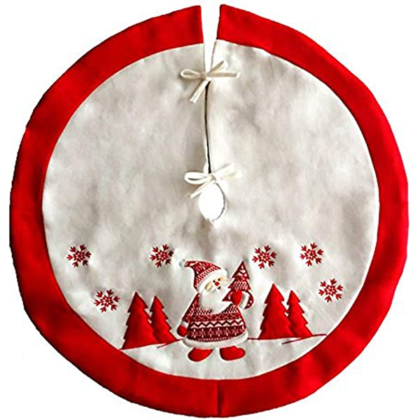 "9/"" Felt Applique Dog Topiary Pet Christmas Tree Skirt Small Tabletop Size"