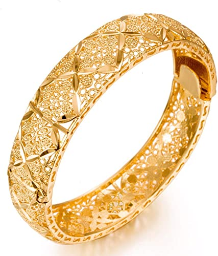 Amazon Com 18k Yellow Gold Plated Jewelry Jewellery Joyeria Cuff