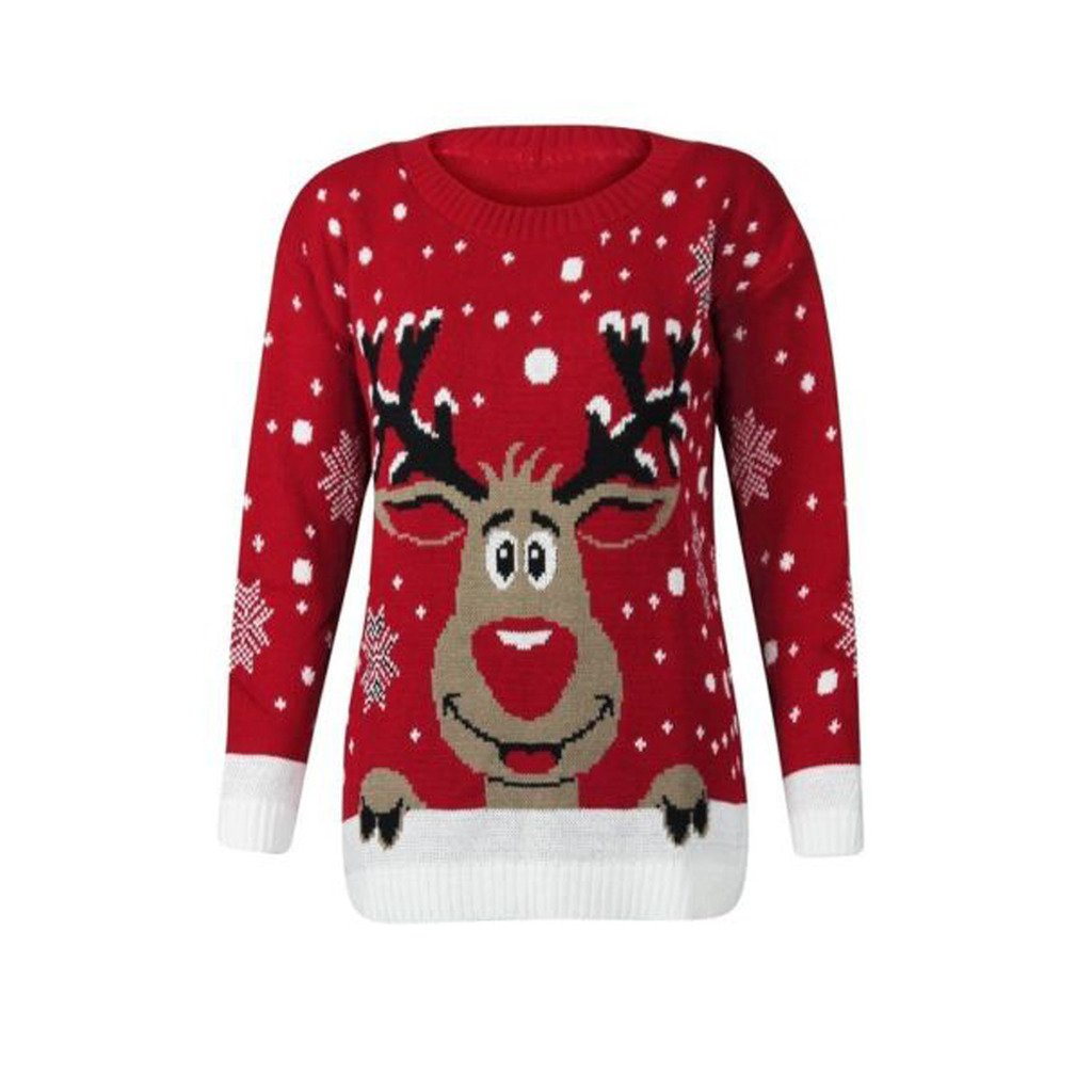 Womens Knitted Xmas Christmas Rudolf Reindeer Jumper Amazon.com ZF-RUDOLPH-RED-SM