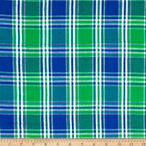 Textile Creations Seersucker Large Plaid Blue/Green/White Fabric By The Yard - Plaid Fabric Seersucker