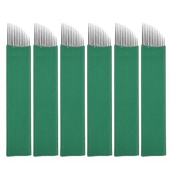 SUPVOX 50pcs Agujas de Microblading 14 pines maquillaje permanente ...