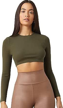 Floerns Women's Casual Long Sleeve Solid Crop Top T Shirt