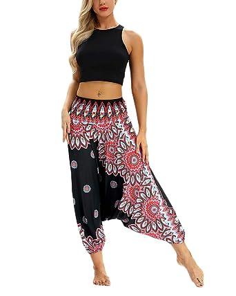 Mujeres Digital Pantalon Aladdin Harem Pantalón Baggy Yoga ...