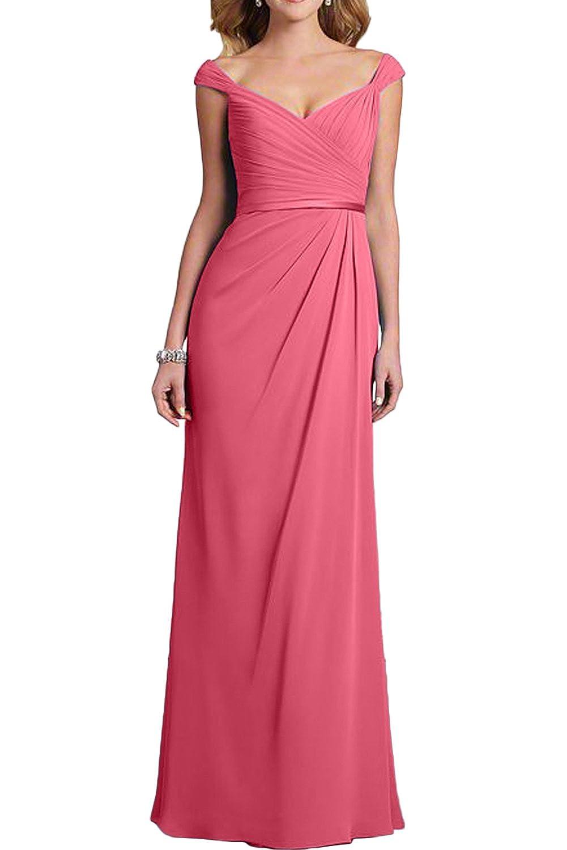 Gorgeous Bride Hochwertig Lang Aendmode 2017 Träger Chiffon Etui Abendkleider Lang Cocktailkleider Ballkleider -58-Wassermelone