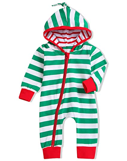 3922b948c8e7 Unisex Baby Boy Girls Christmas Outfit Family Pajamas Long Sleeve Striped  Zipper Hooded Romper Jumpsuit Infant