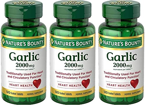 Nature's Bounty Garlic 2000mg, Tablets 120 ea Pack of 3