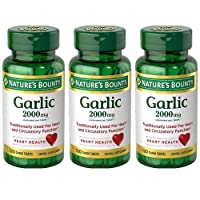 Nature's Bounty Garlic 2000mg, Tablets 120 ea (Pack of 3)