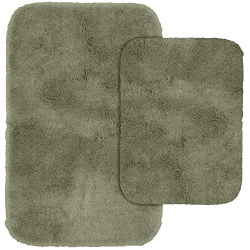 Deep Green Area Rug (Garland Rug 2-Piece Finest Luxury Ultra Plush Washable Nylon Bathroom Rug Set, Deep Fern)