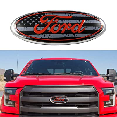 "2004-2014 F150 Front Grille Tailgate Emblem, Oval 9""X3.5"", American Flag Decal Badge Nameplate Fits for Ford 04-14 F250 F350, 11-14 Edge, 11-16 Explorer, 06-11 Ranger: Automotive"